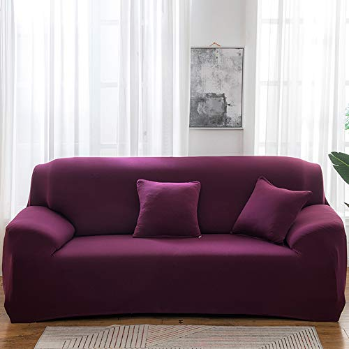 NOBCE Funda de sofá elástica elástica 1/2/3/4 plazas Fundas de sofá para sofás universales Funda seccional en Forma de L Morado Oscuro 90-140CM