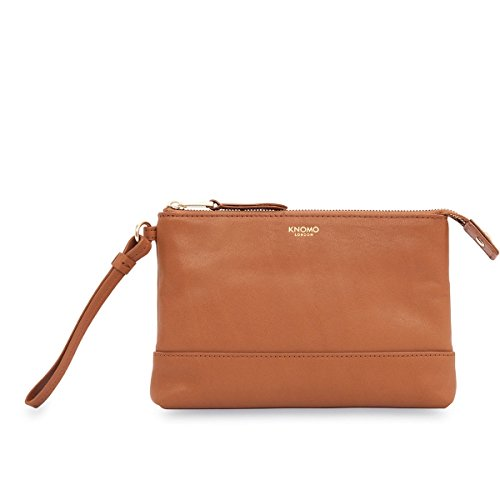 Knomo Luxury Womens Leather Clutch Evening Handbag Purse Tan With Phone  Charger 1e2225570d81b
