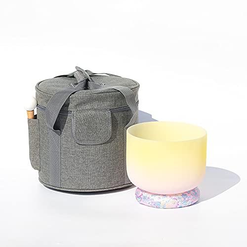 CJF Quartz Crystal 8 Inch All Tones Singing Bowls Gradient Yellow Yoga Meditation Sound Bowl for Mindfulness Meditation Relaxation