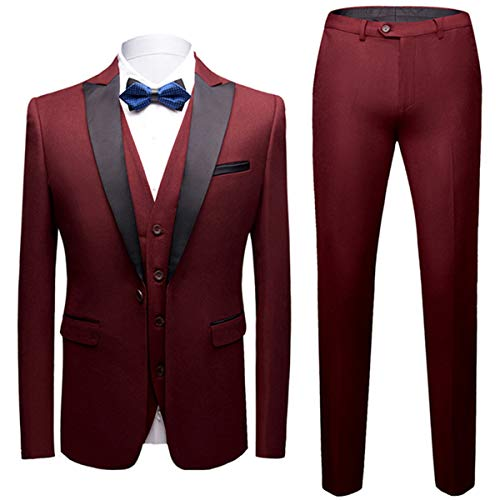 Sliktaa - Traje para hombre, 3 piezas, diseño de Smoking de boda, negocios, chaleco y pantalón