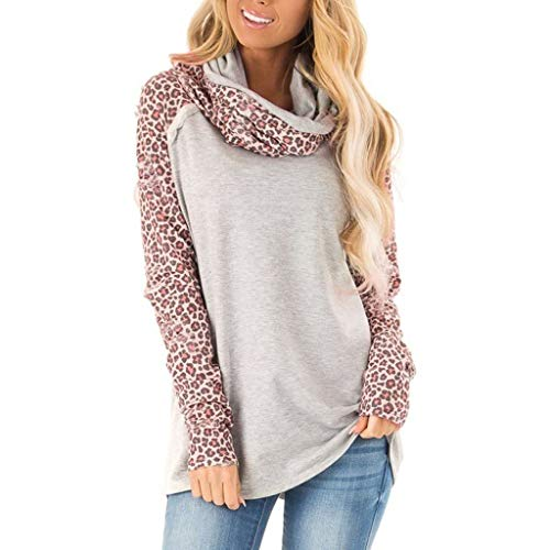 Buy Cheap QIUUE Women Comfy Scarf Collar Sweatshirt Long Sleeve Leopard Patchwork T-Shirt Tops Ladie...