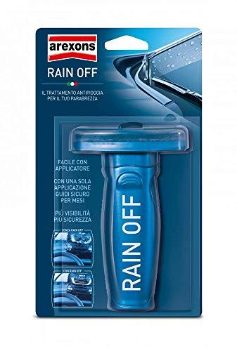 AREXONS RAIN OFF Idrorepellente vetri auto, 100 ml repellente pioggia, trattamento vetro auto cristalli puliti, prodotto per scivolamento gocce antipioggia auto, antipioggia parabrezza con applicatore