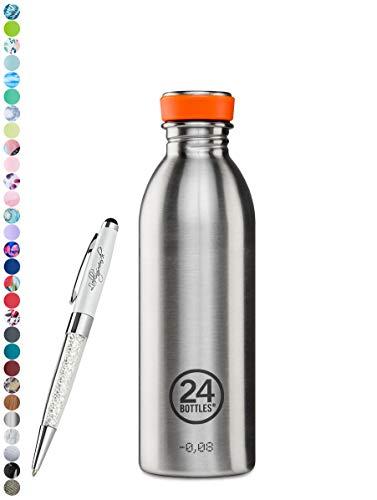 24 Bottles Trinkflasche Urban 250 ml | 500 ml | 1000 ml versch. Farben inkl. Lieblingsmensch Kugelschreiber, Größe:500 ml, Farbe:steel