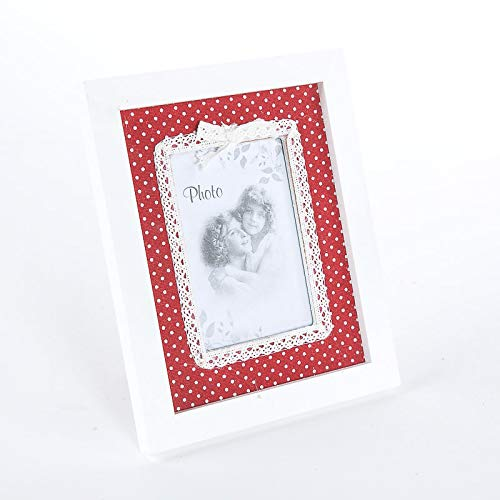 Cristina Carpets Marco de fotos de mesa de madera envejecida y blanca decorado con tela de algodón rojo de lunares, estilo vintage shabby - Marco de fotos (22 x 18 cm)