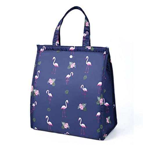 I3CKIZCE Bolsa térmica de pícnic, bolsa porta alimentos, portátil, impermeable, con revestimiento aislante para escuela, trabajo, camping, playa Azul Marino Flamenco 25 cm x 16 cm x 30 cm