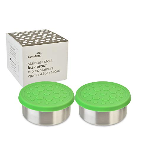 LunchBots 4.5 oz Leak Proof Snack and Side Dish Containers - Set of 2 (4.5 oz) - Spill Proof in Bags and Bento Boxes - Food-Grade Stainless Steel With Silicone Lids - Green