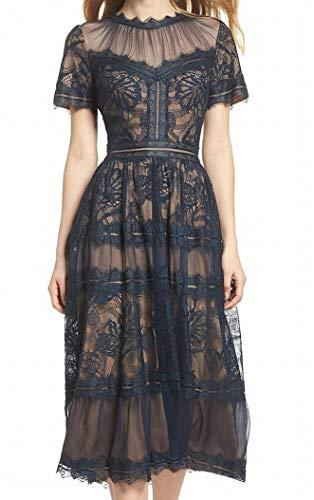 Tadashi Shoji Women's s/s lace midi Dress, Navy/Nude, 10