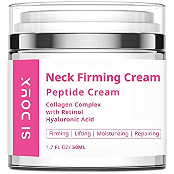 Si Doux Neck Firming Cream – Crepey Skin Treatment Anti-Aging Tightening Lotion for Decolletage – Retinol Hyaluronic Acid Niacinamide Reduce the Appearance of Fine Lines and Wrinkles  1.7 oz