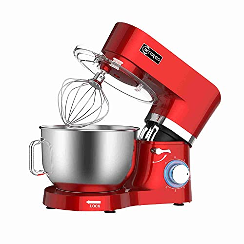 Robot de cocina de 1500 W, con cuenco de acero inoxidable de 6,2 L, 6 velocidades, batidora con varillas, gancho para amasar, varillas, protección contra salpicaduras y espátula, color rojo
