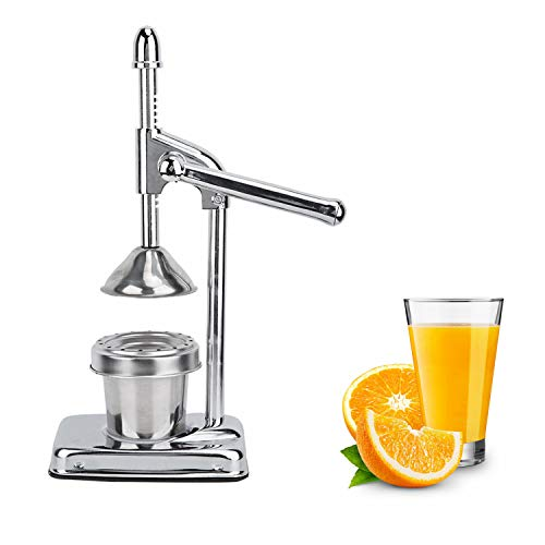 Manual Fruit Juicer Stainless Steel Manual Hand Press Juicer Squeezer Household Fruit Juicer Extractor for Oranges, Lemons, Limes, Grapefruits and More