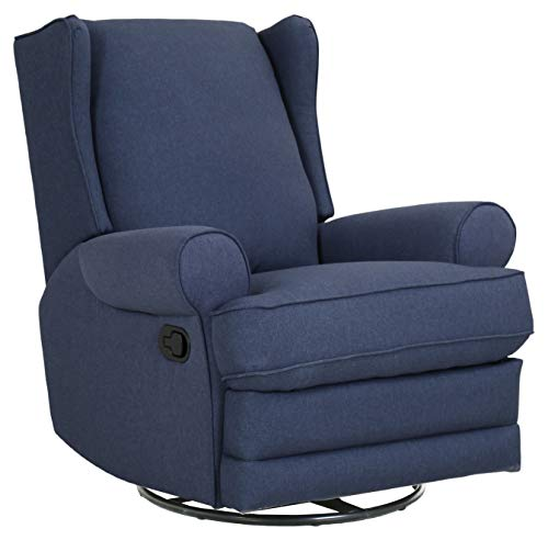 Amazon Brand – Ravenna Home Manning Swivel Base Recliner, 34.6'W, Blue