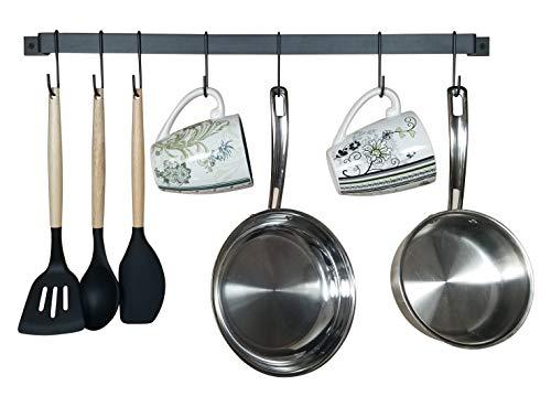 "Wall Mounted Kitchen Hooks – Rustic Iron Multi-Purpose Coffee Mug, Utensil, and Pot Hanger Organizing Holder Rack with 10 S Hooks (26"")"