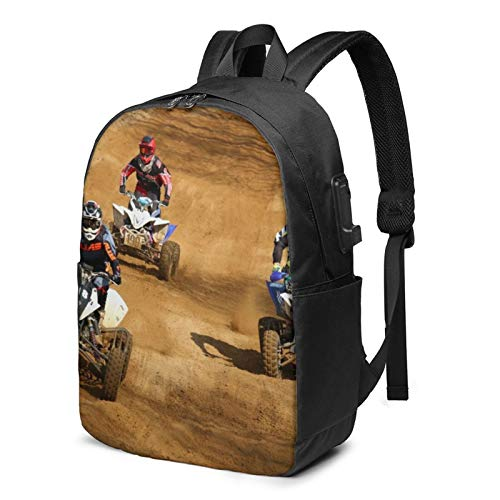 Laptop Backpack with USB Port Sand Motorcycle A21, Business Travel Bag, College School Computer Rucksack Bag for Men Women 17 Inch Laptop Notebook