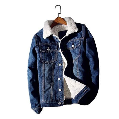 HANMAX Herren Jeansjacke Basic Stretch Jeans Jacke mit Fell Stehkragen Übergangsjacke Freizeitjacke Slim Fit