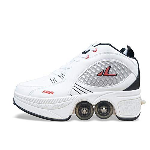 WEDSGTV Schuhe Roller,Roller Sneakers Schuhe Räder, Quad Roller Pulley Schlittschuhe Für Erwachsene Outdoor-Sportarten,White-42