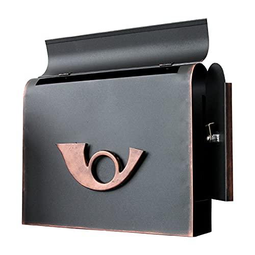 Moderno buzón de pared con compartimento para periódicos e