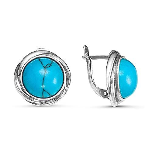Mirkada - Pendientes de plata con turquesa, color azul