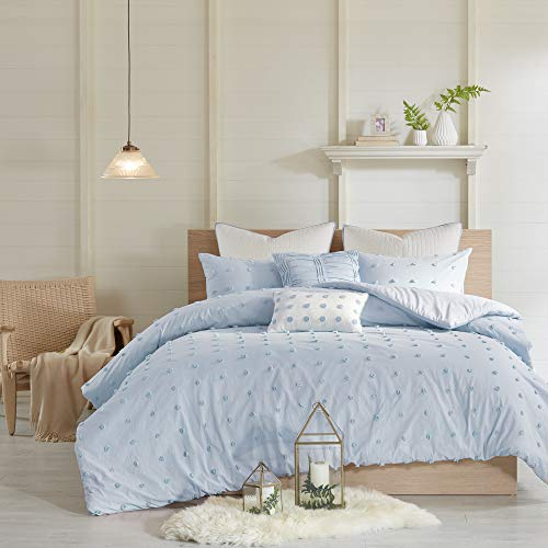 Urban Habitat Brooklyn Duvet Set 100% Cotton Jacquard, Tufts Accent, Embroidered Toss Pillows, Shabby Chic All Season Comfoter Cover, Matching Shams, Bedskirt, Full/Queen(88u0022x92u0022), Blue 7 Piece