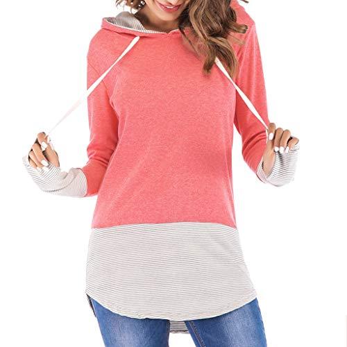 Muyise Damen Tops Größe größen Shirt Pullover Hoodie Langarm V-Ausschnitt Nähen lässig lose Oberteile Tunika Tees Sweatshirt(Rosa,M)