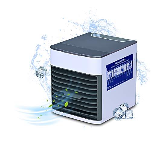 Songway, Mini condizionatore d'Aria Portatile, umidificatore/umidificatore/purificatore, 3 velocità del Vento, con 7 Colori LED, Mini Ventilatore USB