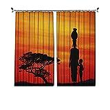 90% cortinas opacas para mujer, paisaje rural, madre y niño al atardecer, árbol de acacia, cortinas plisadas para dormitorio, sala de estar, 150 x 163 cm, color amarillo escarlata negro