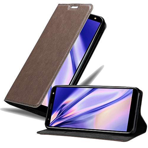 Cadorabo Hülle für LG K40 in Kaffee BRAUN - Handyhülle mit Magnetverschluss, Standfunktion & Kartenfach - Hülle Cover Schutzhülle Etui Tasche Book Klapp Style