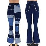 WERT Mujer Cintura Alta Remiendo Vintage blashuete Jeans Sexy Damas Jeans Campana Parte Inferior Jean Denim...