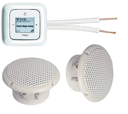 Busch Jäger Unterputz iNet (Internet) Radio Unterputzradio 8216 U (8216U) alpinweiß Komplett-Set Reflex SI + 2 x Deckenlautsprecher (Feuchtraum/Badezimmer) + 20 m Lautsprecherkabel