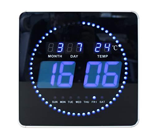 UNILUX Flo Pendule Digitale Murale LED silencieuse avec Affichage Date et Température - Sans Pile 28 x 28cm Noir