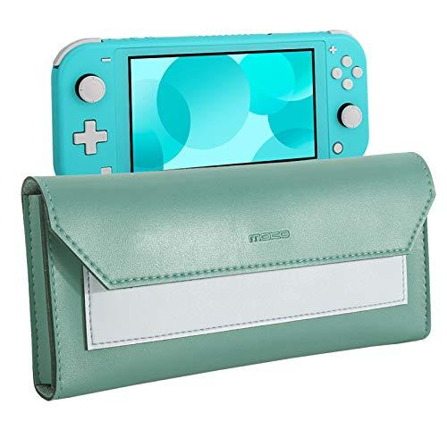 MoKo Estuche de Transporte Compatible para Nintendo Switch Lite, Bolsa de Almacenamiento de PU Cuero, Bolsillo Portátil de Viaje con Cierre de Magnético, para Nintendo Switch Lite 2019 - Azul + Verde