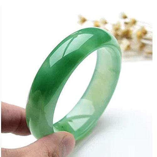 54-64 mm natürliches Jadeit-Jade-Armreif Klassisches Jade-Armreif für Damen, Ölgrünes Hand-Jade-Kettenband mit Geschenkbox,64MM