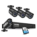 ZOSI 1080p H.265+ PoE Home Security Camera System Outdoor Indoor,8CH 5MP PoE NVR Recorder and (4) 1080p Surveillance Bullet IP Cameras with 120ft Long Night Vision ( 1TB Hard Drive Built-in)
