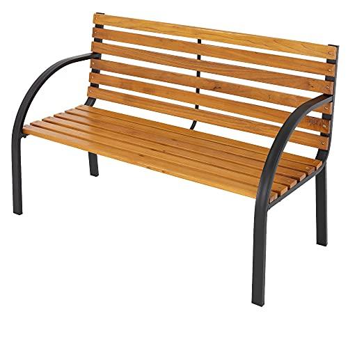ML-Design Gartenbank Parkbank 2-Sitzer Massivholzbank mit Rücken- & Armlehnen, 122x84x58 cm, wetterfeste Sitzbank, Seitenelemente aus...