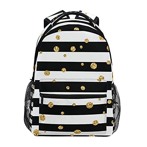 Mochila con diseño de huellas de animales de color negro dorado para adultos y adolescentes para la universidad, para el hombro, para viajes de negocios, trabajo o computadora