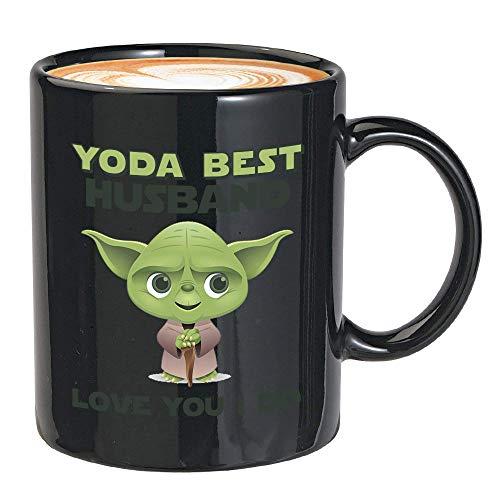 Taza de café Star Wars de 308 ml, taza de Yoda para el día de San Valentín para Her-BestHusbandBlack-12 oz