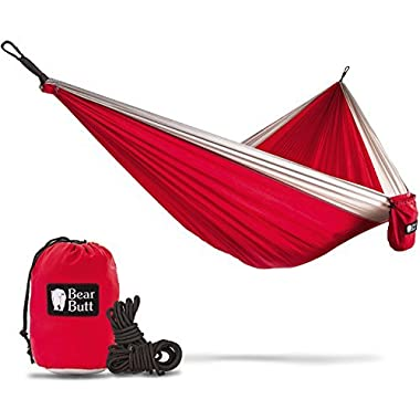 Bear Butt Double Parachute Camping Hammock, Red / Gray