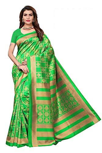 Indian bollywood wedding saree indisch Ethnic hochzeit sari new kleid damen casual tuch birthday crop top mädchen cotton silk women plain traditional party wear readymade Kostüm (Green)