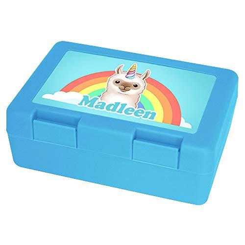 Eurofoto Brotdose mit Namen Madleen und Motiv - Lama-Einhorn - für Mädchen   Brotbox hellblau   Vesperdose   Vesperbox   Brotzeitdose mit Vornamen