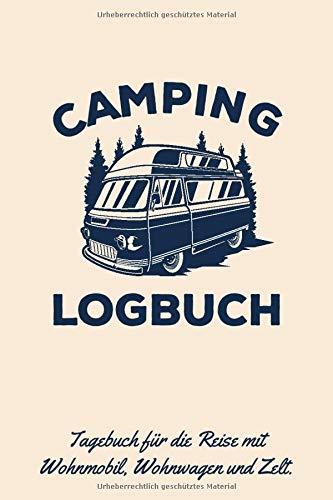 Camping Logbuch: Tagebuch für die Reise mit dem Wohnwagen, Wohnmobil oder Zelt / Kultiger Vintage Retro Campingbus, Dunkelblau auf Kraftpapier