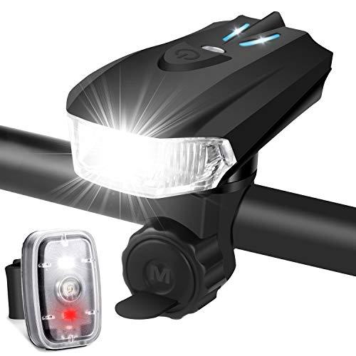 LED Fahrradlicht Set, StVZO Zugelassen USB Wiederaufladbare Fahrradlichter Fahrradbeleuchtung Set, fünf Beleuchtungsmodi Fahrradlampe Set, IPX6 Wasserdicht Frontlicht und Rücklicht Set