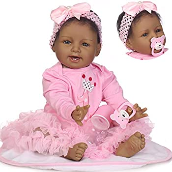 iCradle Real Life 22inch 55cm Reborn Baby Dolls Soft Silicone Realistic Looking Newborn Dolls Black Skin Princess Girl Indian African Style Baby Doll Toy for Ages 3+