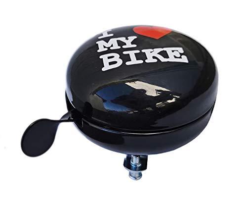 Red Loon Fahrradklingel XXL Ding Dong I Love My Bike 80mm Fahrrad Klingel Glocke Fahrradglocke
