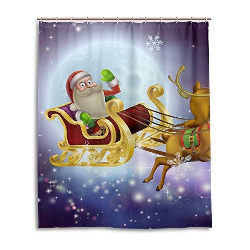 Mr.XZY Santa Claus Reindeer Moon Shower Curtain for Bathroom Polyester Waterproof Custom Bath Shower Curtain with 12 Hooks Set Decor 60x72 inch 2011356