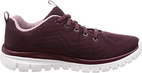 Skechers 12615/WINE Graceful-Get Connected Damen Sneaker dunkelrot/rosa, Größe:39, Farbe:Rot
