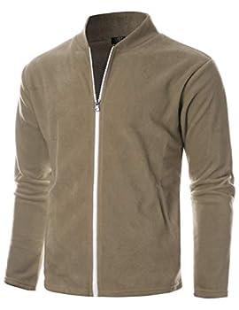 GIVON Mens Slim Fit Long Sleeve Lightweight Polar Fleece Zip-up Cardigan/DCF139-BEIGE-S