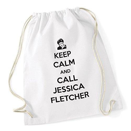 bubbleshirt Sacca da Ginnastica Keep Calm And Call Jessica Fletcher - La Signora in Giallo - Jessica Fletcher - Idea Regalo - Dimensioni: 36x46 cm
