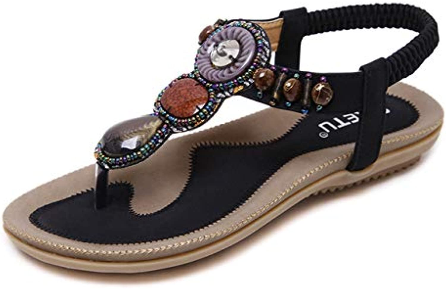 Women's Flat Sandals, Summer Beach shoes Large Size Casual Bohemian Beaded Comfortable Flat Flip-Flops,Suitable for Daily Wear, Home, Vacation