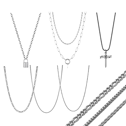 6pcs Necklace Set for Men,Emo Cuban Link Chain Egirl Cross Lock Eboy Barbed Wire Figaro Barbed Wire Layered Twist Rope Box Wheat Multilayer Goth Punk Statement Trendy Necklaces Chains Set for Men Teen Girls Boys 24 Inch Jewelry