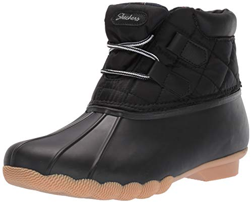 Skechers Women's Hampshire Ridge-Mid Quilted Lace Up Duck Boot with Waterproof Outsole Rain, Black, 8 M US