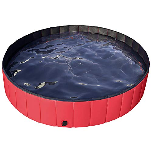 Yaheetech Foldable PVC Cat Dog Swimming Pool Puppy Bathtub Red Dia160cm x H30cm